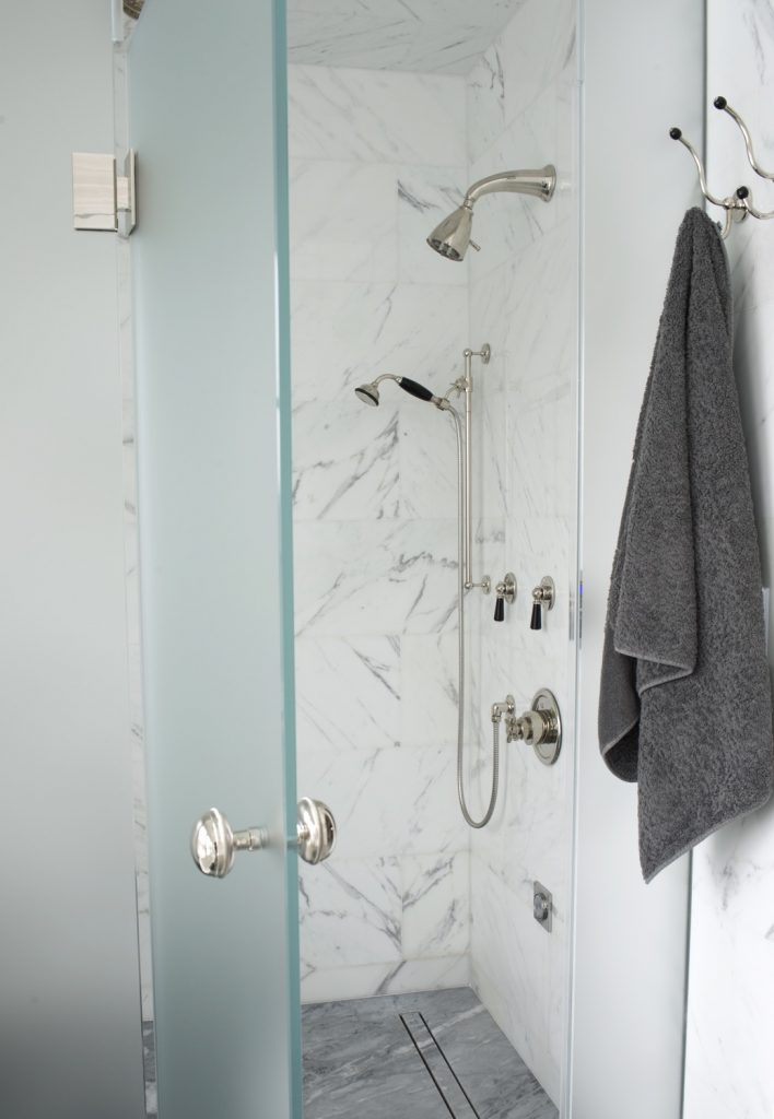 master shower showing drain and door7995